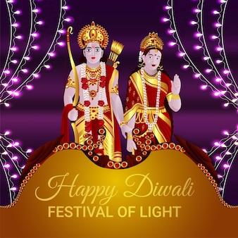 Gelukkige diwali het festival van licht met vectorillustratie van godin laxami