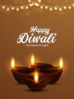 Gelukkige diwali hindoe-festivalachtergrond met creatieve olielamp en feestvlag