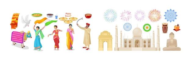 Gelukkige diwali indiase etnische elementen instellen. traditionele religie feestelijke vakantie decor met glanzende diya olielamp, dansende vrouw in nationale outfit, heilige dieren koe, salute, boeddhabeeld cartoon vector