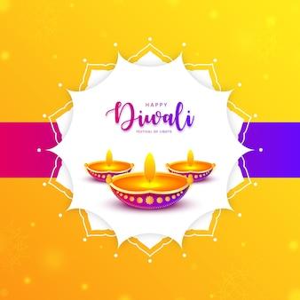 Gelukkige diwali indiase festival olielamp achtergrond