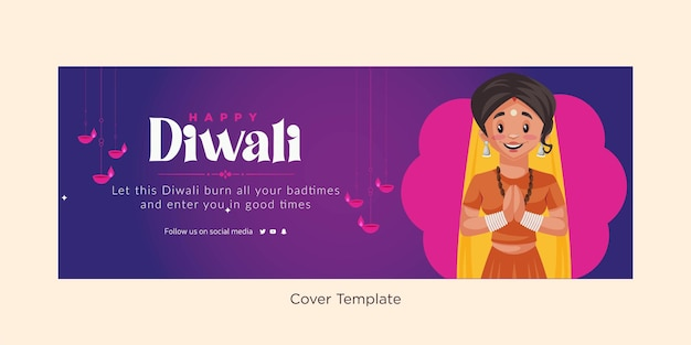Gelukkige diwali indiase festival omslagontwerpsjabloon