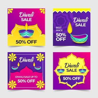 Gelukkige diwali instagram verkoopposten met kaarsen