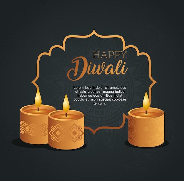 Gelukkige diwali-kaart met frame met kaarsen