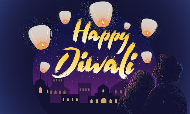 Gelukkige diwali kleurrijke vector briefkaartsjabloon. horizontale banner met verlichtingstekst en nacht indiase stad