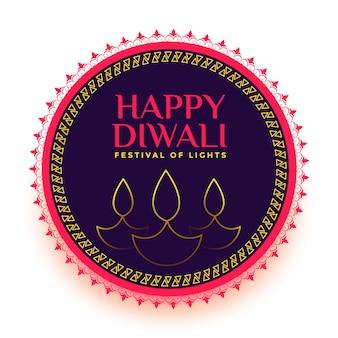 Gelukkige diwali lijn diya festival kaart