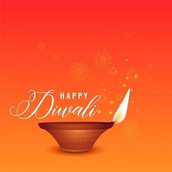 Gelukkige diwali mooie oranje achtergrond met realistische diya