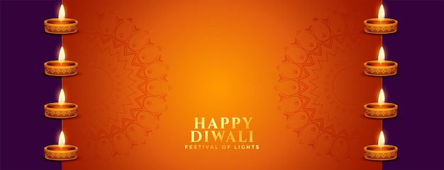 Gelukkige diwali oranje banner met diya-decoratie