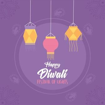 Gelukkige diwali, paarse achtergrond hangende lantaarns festival lichten.