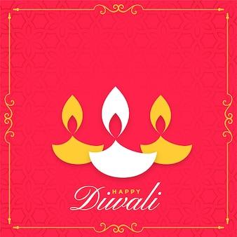 Gelukkige diwali platte achtergrond met drie diya