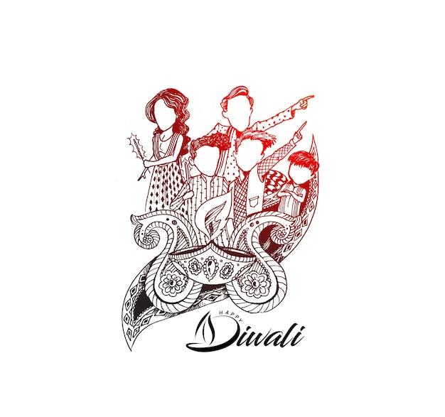 Gelukkige diwali-tekst met gelukkige familie creatieve achtergrond voor diwali-festival.