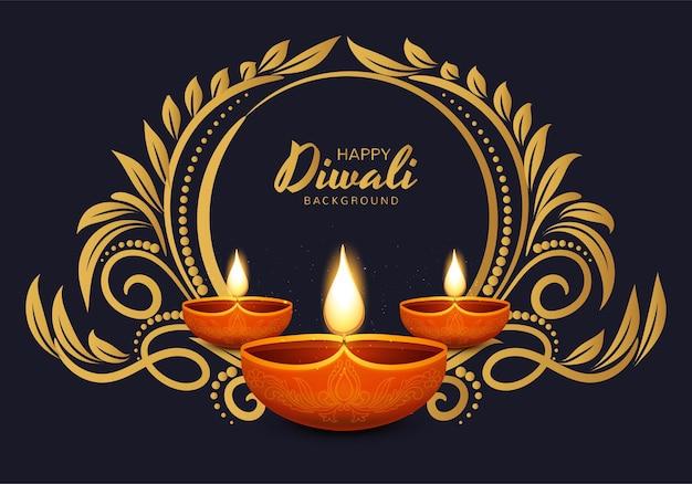 Gelukkige diwali traditionele indische diya olielamp viering achtergrond