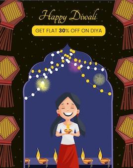 Gelukkige diwali verkoop banner ontwerpsjabloon
