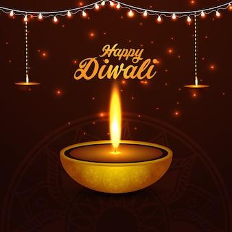 Gelukkige diwali viering achtergrond en wenskaart