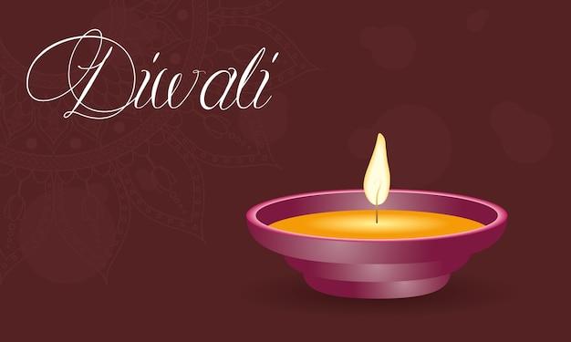 Gelukkige diwali-viering belettering met kaars
