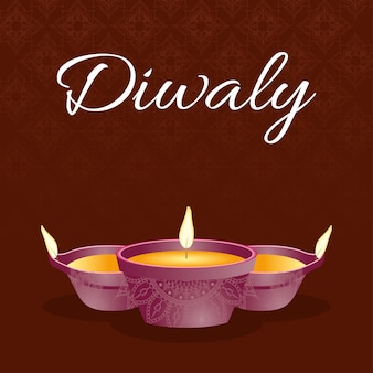 Gelukkige diwali-viering belettering met kaarsen