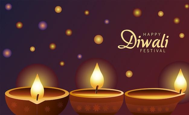 Gelukkige diwali-viering met drie kaarsen houten op purpere achtergrond