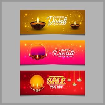 Gelukkige diwali-viering met olielamp