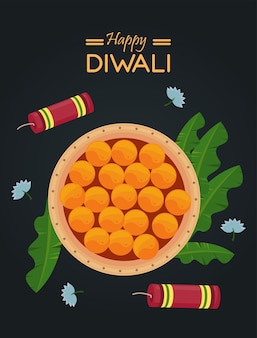 Gelukkige diwali-viering met schotelvoedsel en vuurwerkraketten