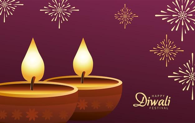 Gelukkige diwali-viering met twee kaarsen houten op purpere achtergrond