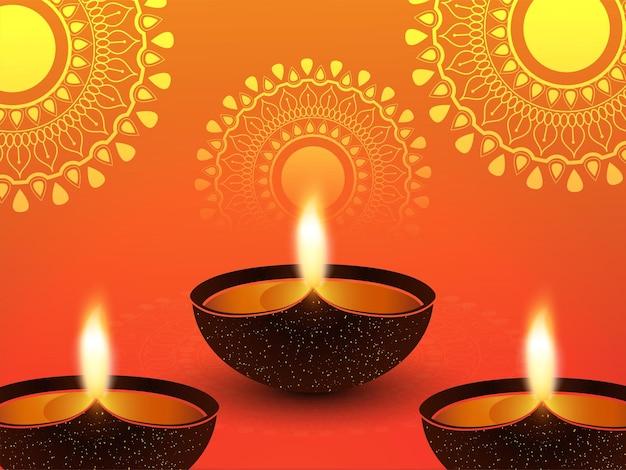 Gelukkige diwali viering wenskaart en achtergrond