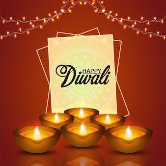 Gelukkige diwali viering wenskaart met diwali diya