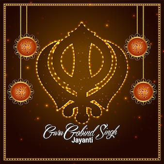 Gelukkige diwali viering wenskaart met vectorillustratie van sikh goeroe