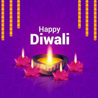 Gelukkige diwali-vieringswenskaart met muntpot