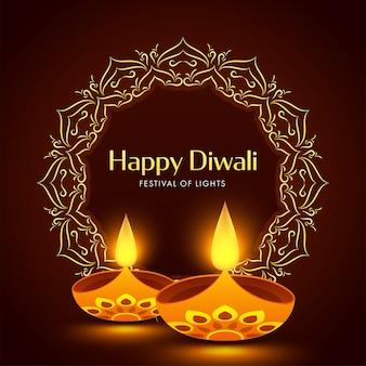 Gelukkige diwali-wenskaart of posterontwerp met verlichte olielampen (diya)