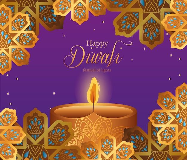 Gelukkige diwalikaars en gouden bloemen op purper ontwerp als achtergrond, festival van lichtenthema