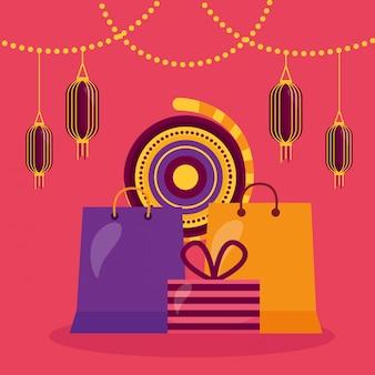 Gelukkige diwalikaart met het winkelen zakken en lampen het hangen