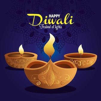 Gelukkige diwalikaart met kaarsen en mandala op blauw