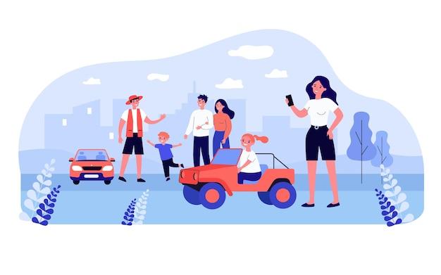 Gelukkige dochter die kleine elektrische jeep voor kinderen berijdt. auto's voor kinderen bij park platte vectorillustratie. gezinsactiviteit, vrije tijd, entertainmentconcept voor banner, websiteontwerp of bestemmingswebpagina