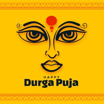 Gelukkige durga pooja indische festivalachtergrond Gratis Vector