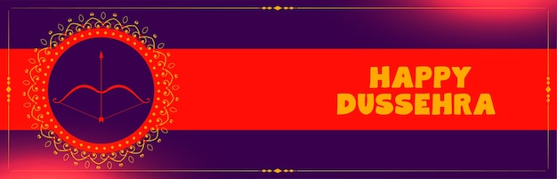 Gelukkige dussehra-festival decoratieve banner met pijl en boog