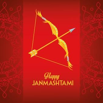 Gelukkige dussehra festival poster met belettering en boog op rode achtergrond