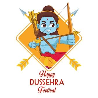 Gelukkige dussehra-festivalaffiche met blauw rama-karakter en belettering
