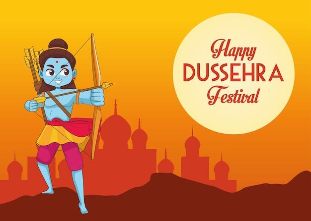 Gelukkige dussehra-festivalaffiche met blauw rama-karakter en moskeesilhouet