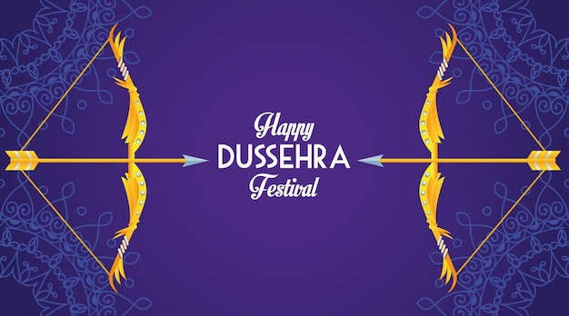 Gelukkige dussehra-festivalaffiche met bogen op purpere achtergrond