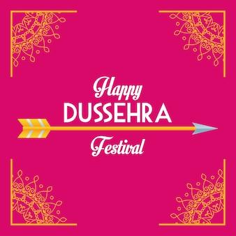 Gelukkige dussehra-festivalaffiche met letterteken en pijl