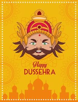 Gelukkige dussehra-festivalaffiche met ravana-hoofd met moskeegebouw