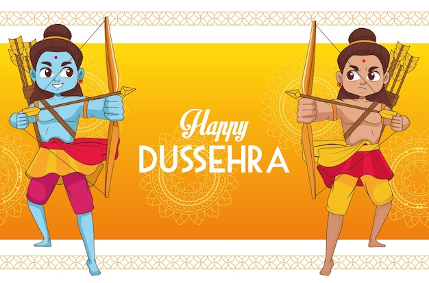 Gelukkige dussehra-festivalaffiche met twee rama-karakters en belettering
