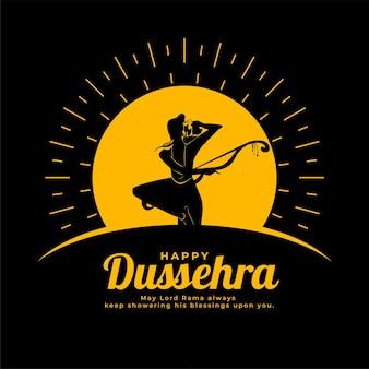 Gelukkige dussehra-festivalkaart met lord rama-silhouet