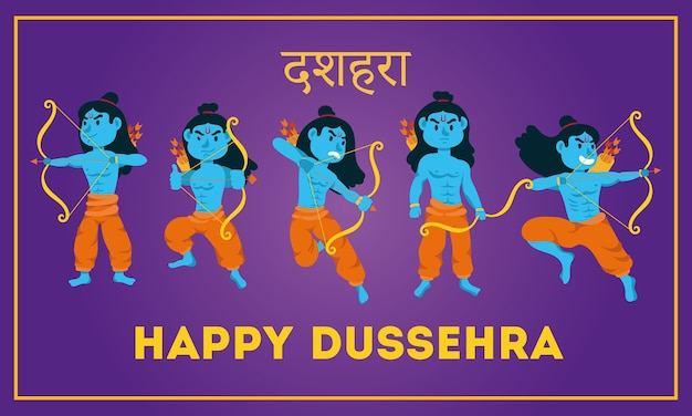 Gelukkige dussehra-tekst met de blauwe karakters van lord ramas
