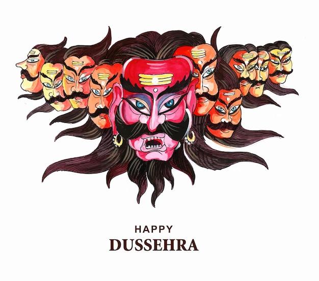 Gelukkige dussehra-viering boze ravan met tien hoofdenkaartontwerp