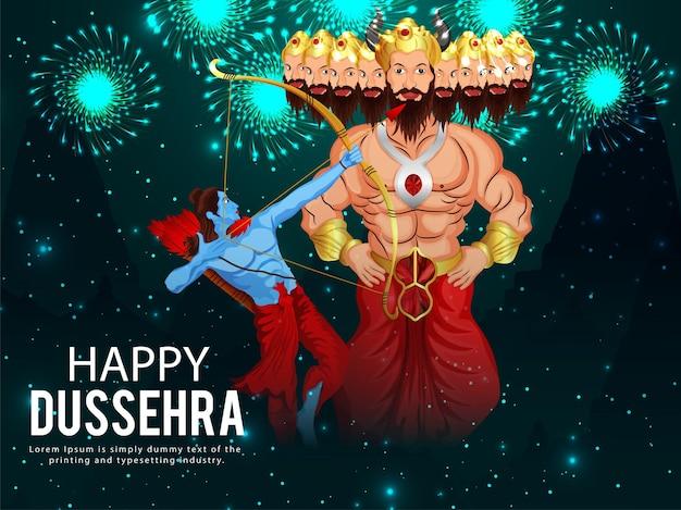 Gelukkige dussehra-vieringsachtergrond met illustratie van lord rama doodde ravan