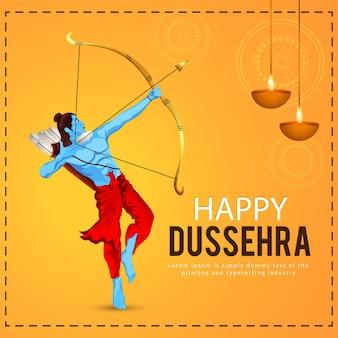 Gelukkige dussehra-vieringsachtergrond met illustratie van lord rama