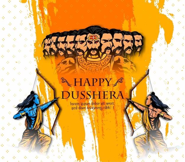 Gelukkige dusshera met boog en lord rama die ravana doodt in navratri-festival van india vijayadashami