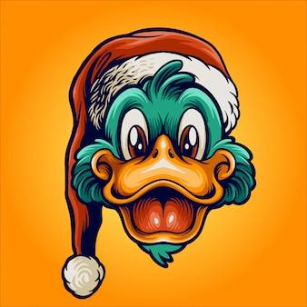 Gelukkige eend met kerstman hoed