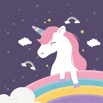 Gelukkige eenhoorn regenbogen wolken sterren fantasie magische droom cute cartoon illustratie