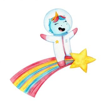 Gelukkige eenhoornruimtevaarder die een komeet berijdt. grappige magische dier in spase pak en helm vliegen op een ster. kinderen illustratie geïsoleerd.